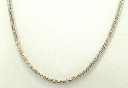 14K Yellow & White Gold Round Spiral Link Chain Necklace 2.1mm 16 Inch D5305