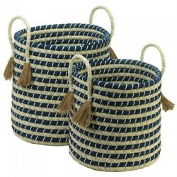 BRAIDED SEAGRASS STORAGE BASKET W 2 HANDLES SET OF TWO NAVY AND BEIGE HOME DECOR