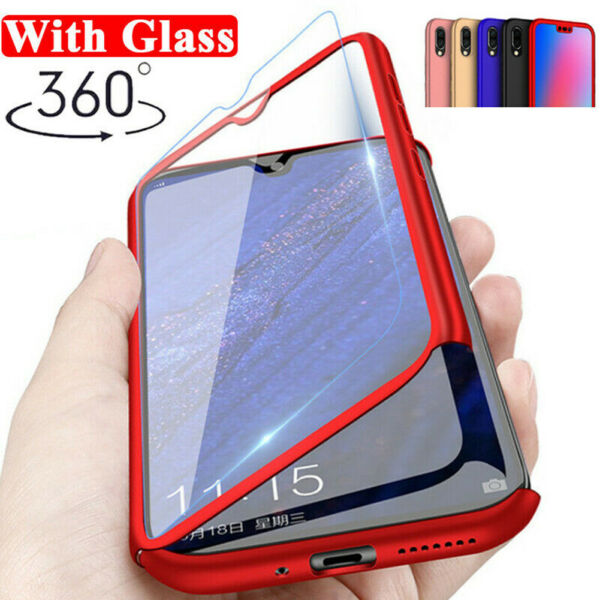 360 Full Body Shockproof Case Cover For Huawei Y6 Y7 Y9 2019 2018+Tempered Glass