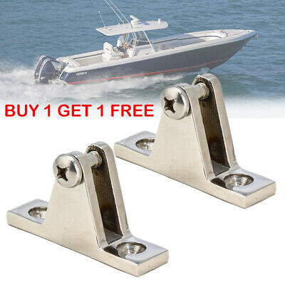2X Stainless Steel Angled Deck Hinge Fitting for Bimini Boat Top Marine Hardware