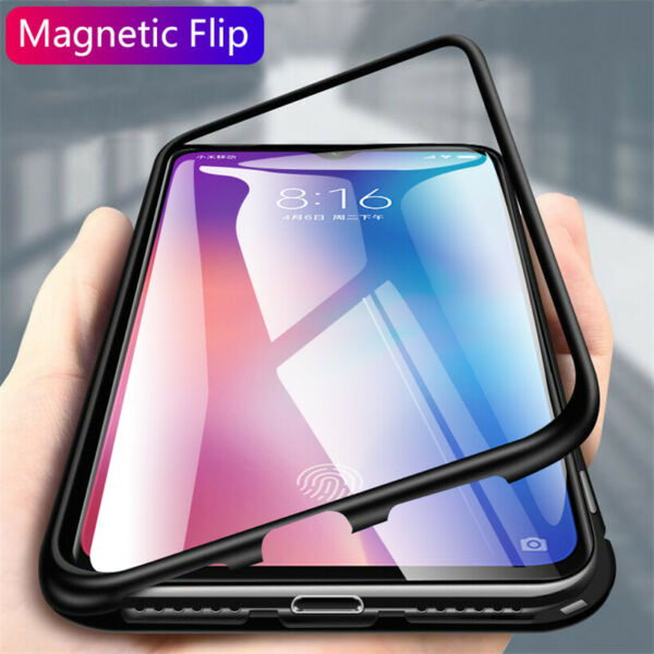 For Xiaomi Mi 9T Pro 9 SE 8 Magnetic Adsorption Metal Case Tempered Glass Cover