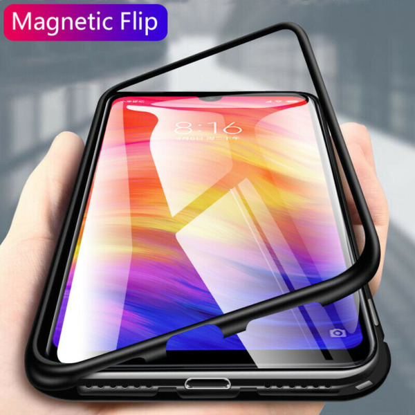 For Xiaomi Redmi 8A Note 8T Magnetic Adsorption Metal Case Tempered Glass Cover