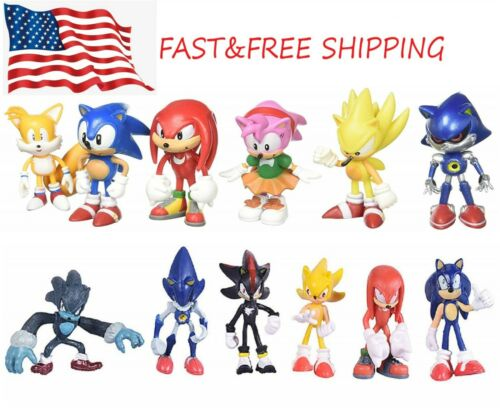 6 Pcs Sonic the Hedgehog Action Figures Cake Toppers Toys USA SELLER