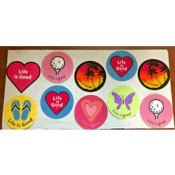 Life is Good Sticker 4'' Round LOT of 2 Stickers Golf Sunset Hearts Butterfly NEW