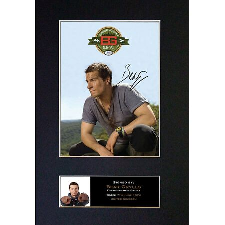 img-#342 BEAR GRYLLS Reproduction Signature/Autograph Mounted Signed Photograph A4