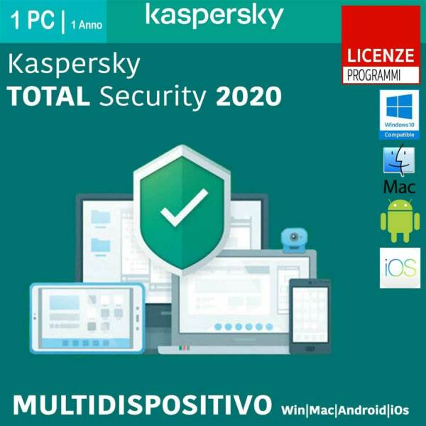 Kaspersky Total Security 2020 1-2-3-5-10 Win Mac Android 1 Anno o 2 Anni ESD