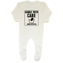 Handle with Care - Rinse after use Boys Girls Baby Grow Sleepsuit