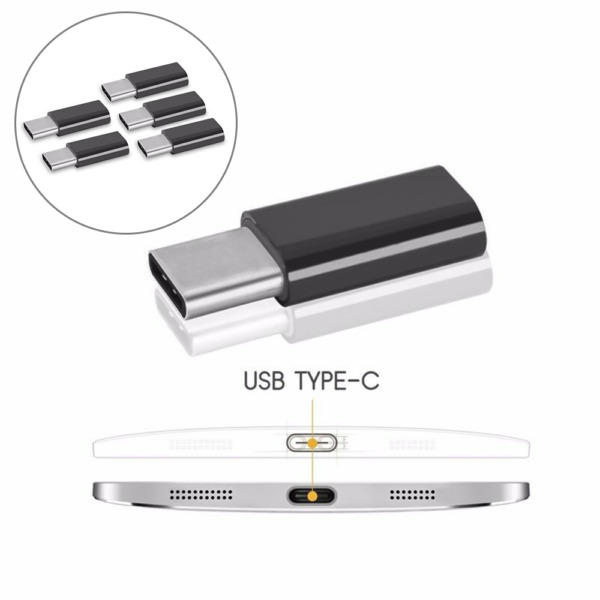 5x TIPO C connettore a Micro USB Femmina Convertitore Adattatore Nero IT