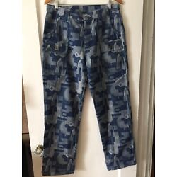 CUSTOM ONE OF A KIND Mens Sz 34 Camouflage Denim Cargo Pocket Relaxed Fit Jeans