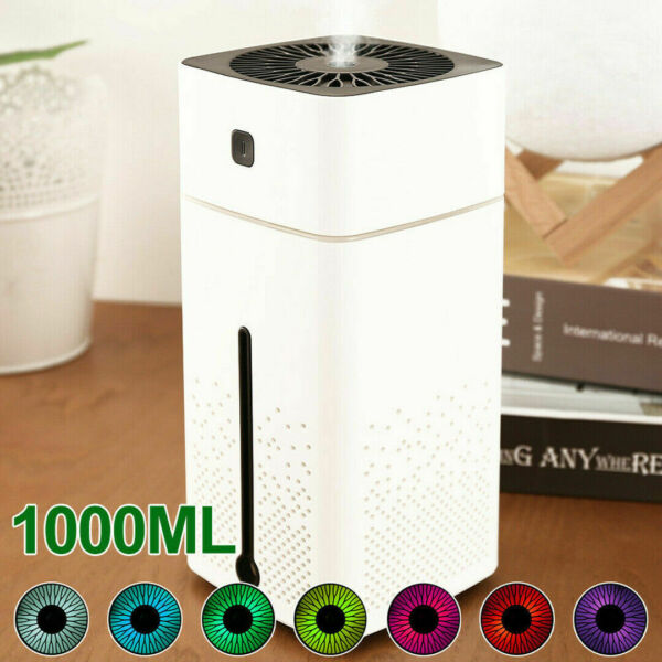 1000ml USB Umidificatore COLORATI NOTTURNA LUCE Aromaterapia umidificatore LED