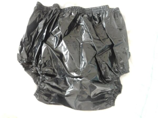 ADULT BABY GLOSSY BLACK VERY NOISY PLASTIC PANTS. SIZE L LARGE 29