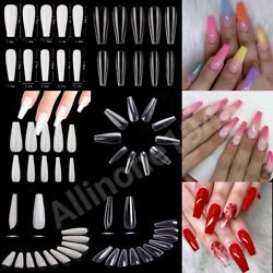 Kyпить 100/500/600Pcs Long Ballerina Coffin/Flat French/Stiletto/Almond False Nail/Tips на еВаy.соm