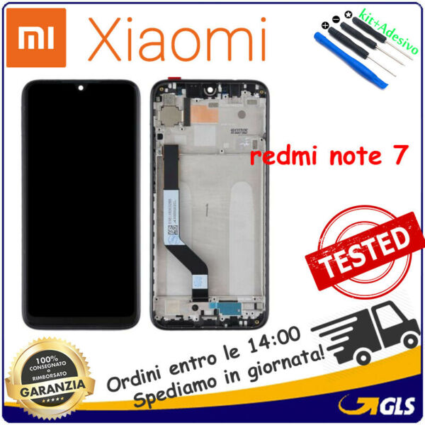 Display LCD Touch Screen Vetro Schermo Frame Per Xiaomi Redmi Note 7 NERO