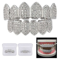 Kyпить 2X Silver Plated Bling Bling Cubic Zirconia Top & Bottom Grillz Mouth Teeth USA на еВаy.соm