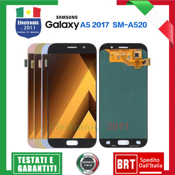 LCD DISPLAY PER SAMSUNG GALAXY A5 A520 2017 SM-A520F TOUCH SCREEN VETRO SCHERMO