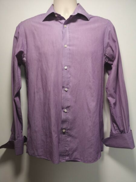 Dehavilland Purple Striped Long Sleeve Formal Cufflink Shirt - Collar 15