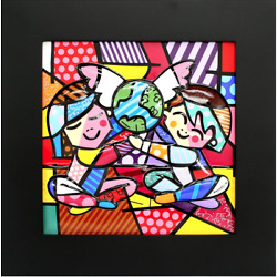 ROMERO BRITTO LIMITED EDITION FRAMED PORCELAIN: CHILDREN OF THE WORLD * NEW *