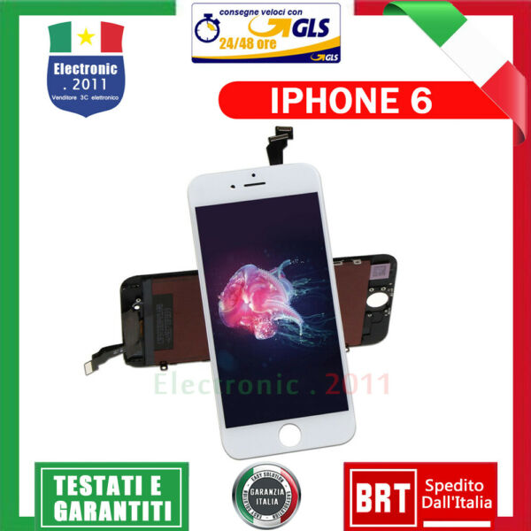 BIANCO NERO LCD DISPLAY PER APPLE IPHONE 6 TOUCH SCREEN SCHERMO VETRO ASSEMBLY