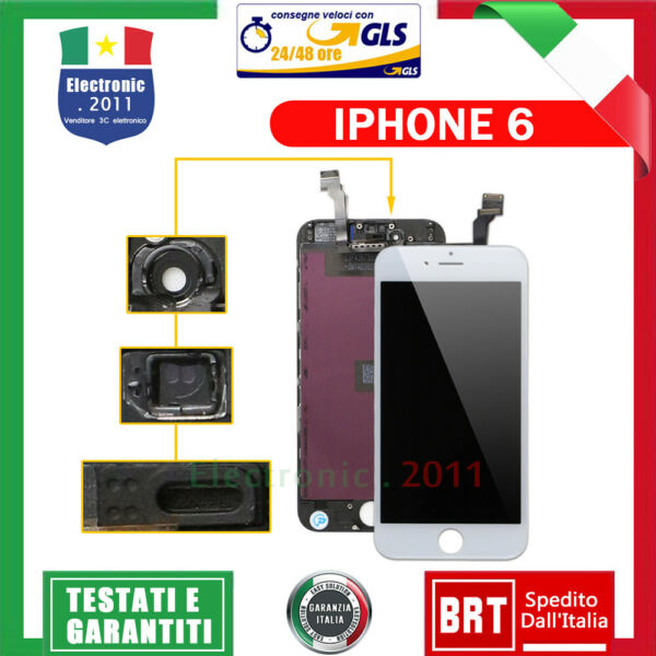 Schermo LCD per iphone 6 nero display tianma originale completo + retina + frame
