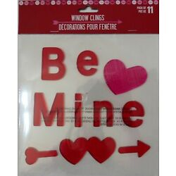 Hearts And Words Window Gel Cling Decor ''Be Mine''  11 pieces
