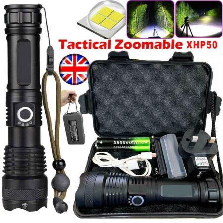 img-High Power 900000Lumens XHP50 Zoom Flashlight LED Rechargeable Torch Headlamp