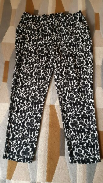 WOMENS GEORGE BLACK & WHITE CASUAL TROUSERS SIZE 14S