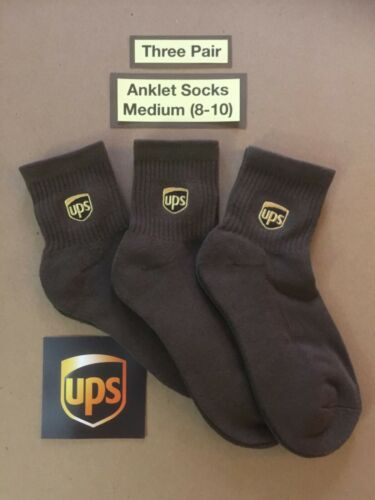 Three Pair ~ANKLET Socks~ Size Men M (8-10) United Parcel Service UPS Accessory