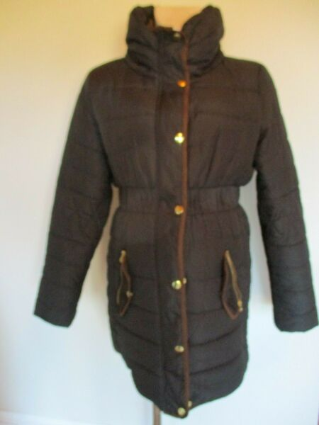 MAMALICIOUS MATERNITY CHARCOAL QUILTED CONTRAST TRIM MAC COAT SIZE M UK 10-12