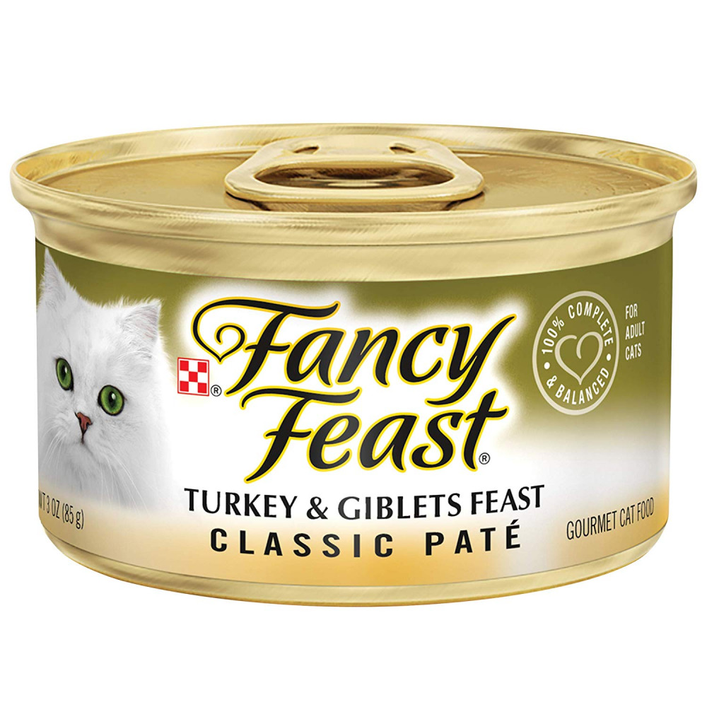 Purina Fancy Feast Grain Free Pate Wet Cat Food Classic Pate Turkey & Giblets