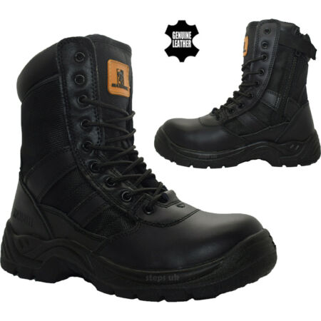 img-Mens Leather Military Combat Boots Lightweight Police Security Work Ankle Boots