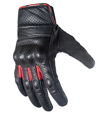 Leather Motorcycle Gloves with Armored Knuckles