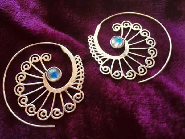 SILVER PLATED PEACOCK SPIRAL EARRINGS & MOONSTONE - BOHO, FESTIVAL, LADIES GIFT