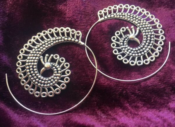 SILVER PLATED LARGE SPIRAL PEACOCK EARRINGS - BOHO, FESTIVAL, LADIES GIFT