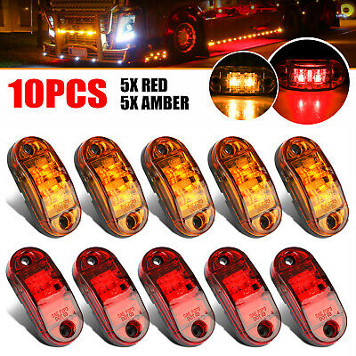 5x Amber+ 5x Red LED Car Truck Trailer RV Oval 2.5
