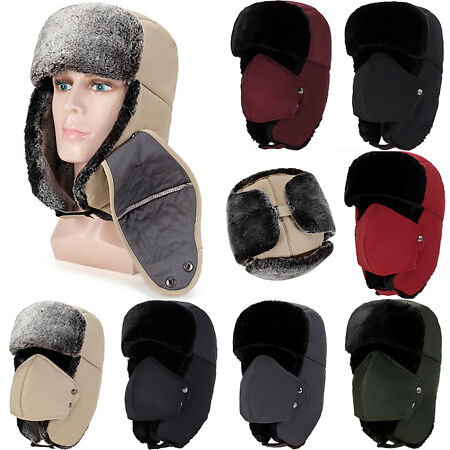 img-Winter Fluffy Fur Trapper Aviator Trooper Cap Russian Earflap Ski Hat Face Cover