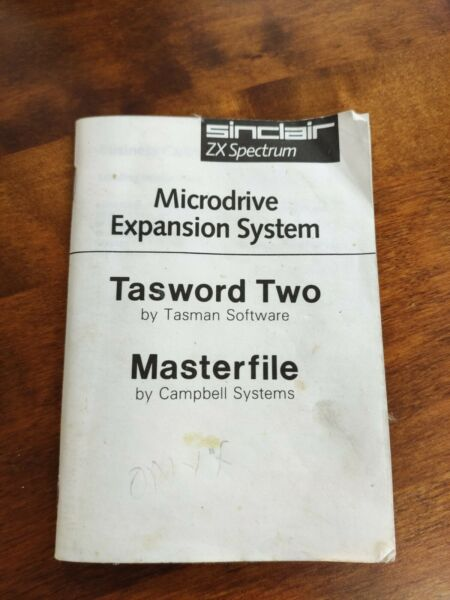 Sinclair ZX Spectrum Microdrive Expansion System Tasword Two Masterfile Manual