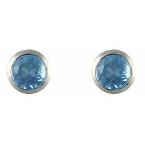 Royaume-UniTopaze Bleu Boucles D' 925 Argent Sterling Rubover 3mm