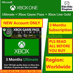 NEW ACC ONLY, XBOX GAME PASS Ultimate 3 Months Membership LIVE GOLD+GAMEPASS