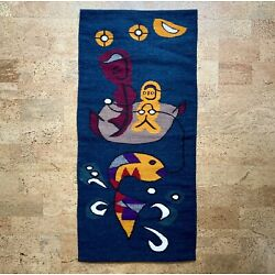 "Kyпить Modernist Abstract Fisherman Wool Tapestry Wall Hanging Vintage Mid-Century 40"" на еВаy.соm"