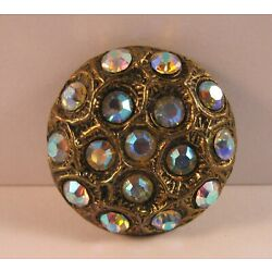 Kyпить Large Vintage Antique Gold Toned Button with Glittering Aurora Rhinestones на еВаy.соm