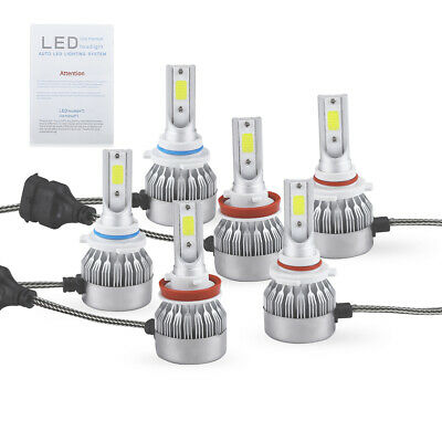 9005 9006 H11 Combo COB LED Headlight Fog Lamp Bulb ICE BLUE 8000K High Low Beam