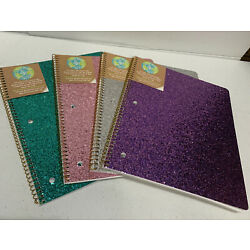 U Style  Glitter Galaxy Spiral Notebooks 1 Subject 80 Sheets Wide Ruled 4 Pack