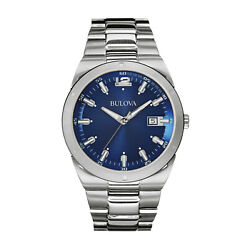 Kyпить Bulova Men's Classic Quartz Blue Dial Silver-Tone Bracelet 43mm Watch 96B220 на еВаy.соm