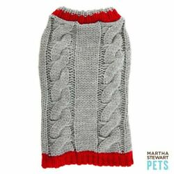 Martha Stewart Pets  Cable Knit Sweater Grey and Red Size XLarge NWT