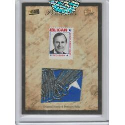 2018 Bar Pieces Past Hybrid National Edition George Bush Stamp Pennant Relic