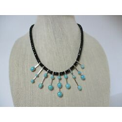 Kyпить JAY KING DTR STERLING SILVER CAMPITOS TURQUOISE /BLACK AGATE NECKLACE  на еВаy.соm