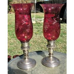 Kyпить PAIR ANTIQUE STERLING SILVER HURRICANE LAMPS CRANBERRY WEBSTER CANDLEHOLDERS  на еВаy.соm