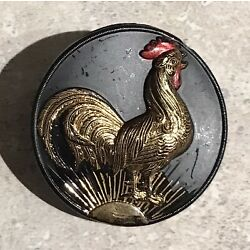 Kyпить FABULOUS VINTAGE BLACK GLASS BUTTON WITH CROWING ROOSTER на еВаy.соm