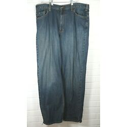 626 Blue mens jeans 40 x 32 actual medium wash frayed hems relaxed fit