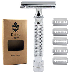STAINLESS STEEL HEAVY DUTY DOUBLE EDGE SAFETY RAZOR + SHAVING BLADES GERMAN MADE